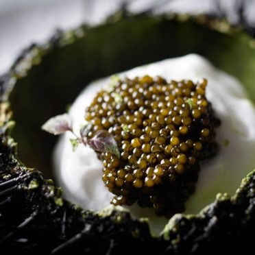 "Caviar is the crown of David Bouley's signature dish: ""Malibu Sea Urchin, Green Apple Cloud, Golden Osetra Caviar""."