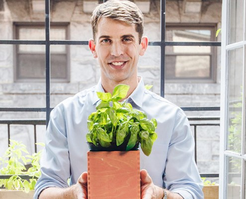"Dr. Drew Ramsey holding a plant. Drew will appear with Chef David Bouley to speak at The Chef and the Doctor Dinner"" in Bouley Test Kitchen on January 8th, 2020"