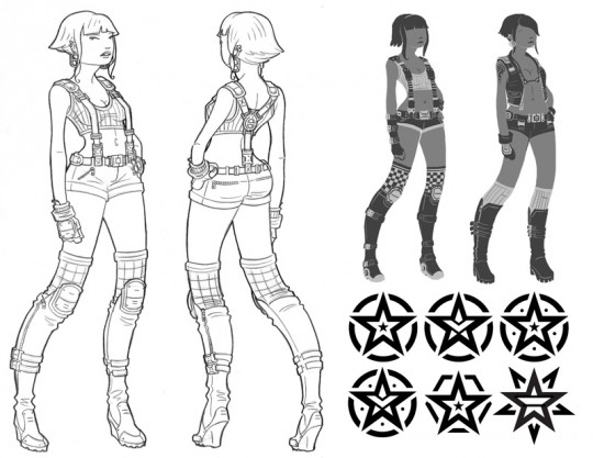 Character turnaround, design silhouettes, and logo designs