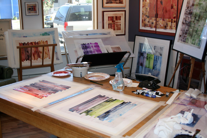 Studio Snapshot - The purple/green/blue original on the table is my donation painting.