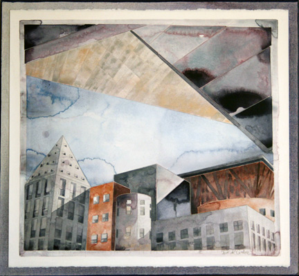 """""""Denver Art Museum, Sky, Library"""", watercolor on paper (canvas-mounted), 24 x 26 inches."""