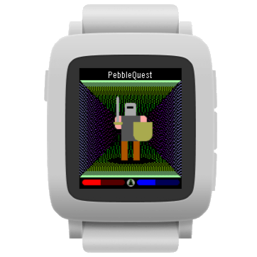 PebbleQuest, color version, on a white Pebble Time device.