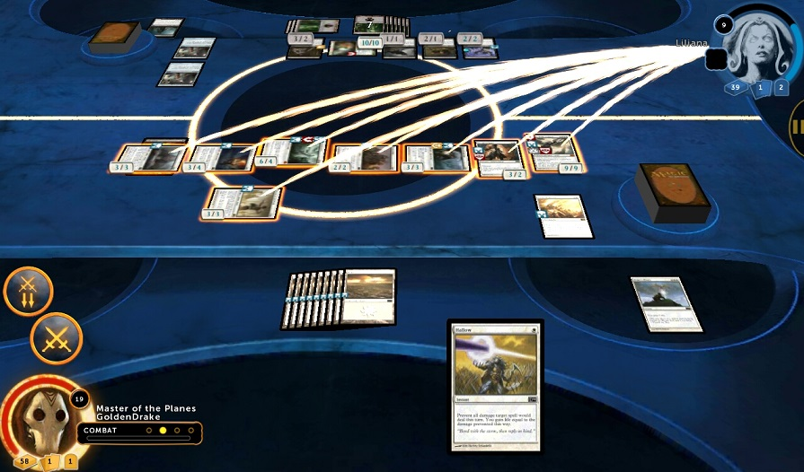 Several creatures attacking with a single click in Magic 2014.