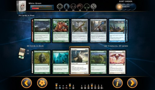 "Deck-building in Magic 2014's ""Sealed Play"" mode."