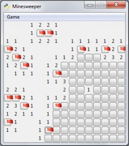 A screenshot from my Python remake of the classic Minesweeper game.