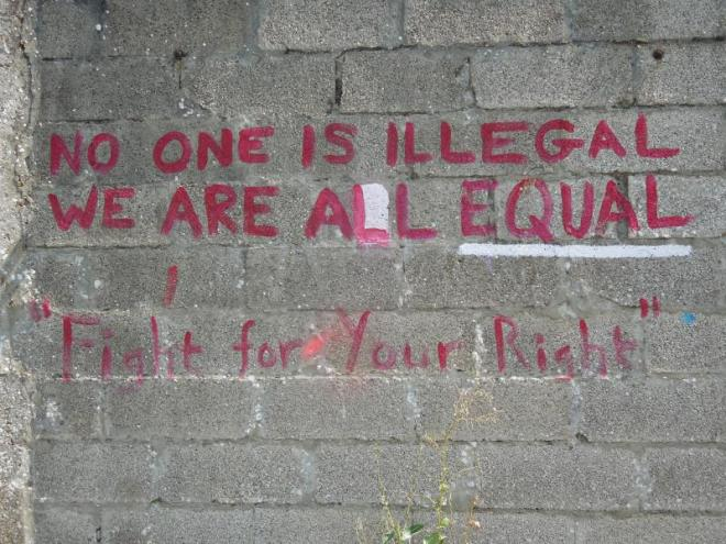 "Do we need borders? ""No one is illegal. We are all equal."""