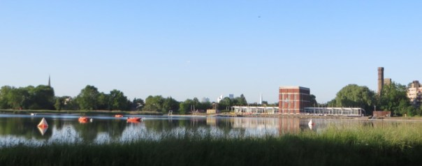 The view over the reservoir at the beginning of the New River in Stoke Newington