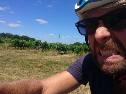 Hard ride selfie vineyards