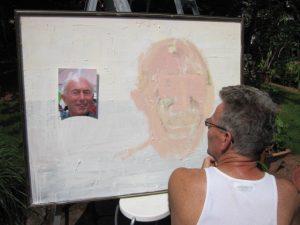 Robert paints Stuart Summerhayes' portrait