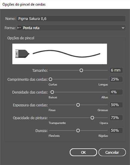Adobe Illustrator configurando pincel caligrafico