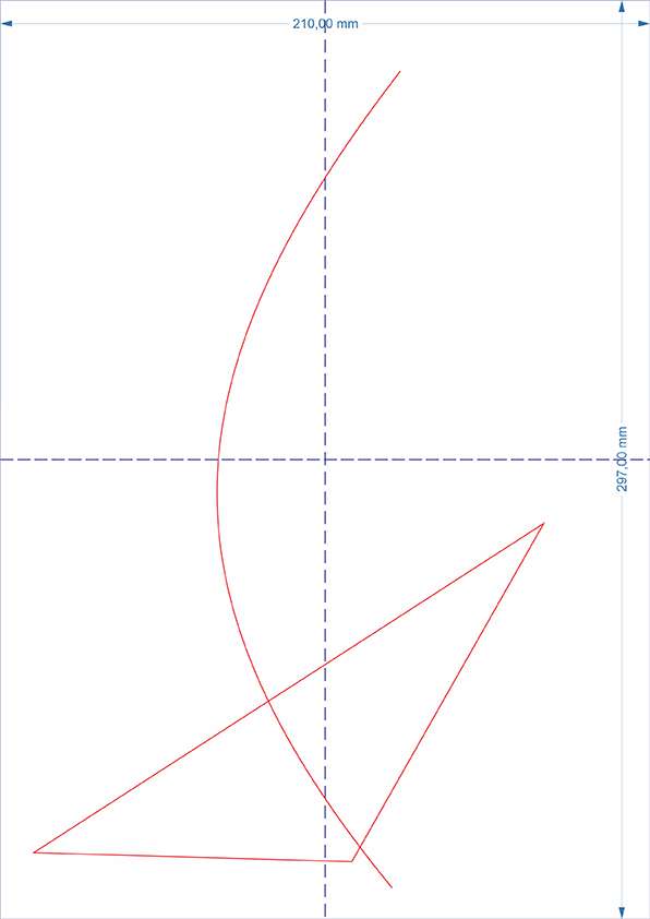 Linha principal e objeto triangular