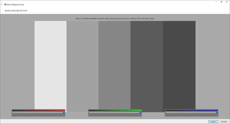 Controle ajustar proporções de cores
