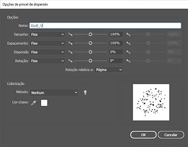 Illustrator configurando pincel dispersão
