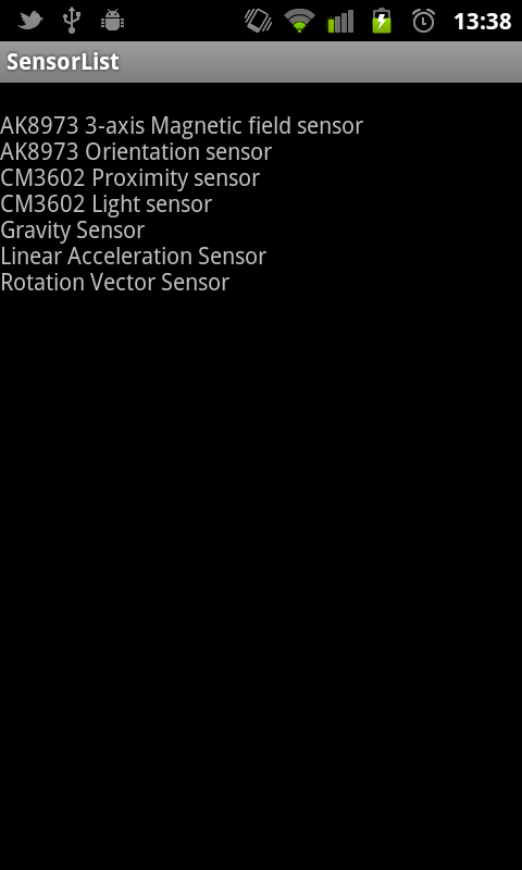 Sensors list displayed on Nexus One