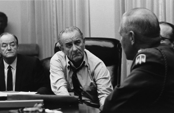LBJ talks to military advisors about Vietnam