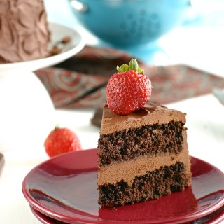 Gluten-Free Chocolate Cake with 2-Ingredient Fudge Frosting