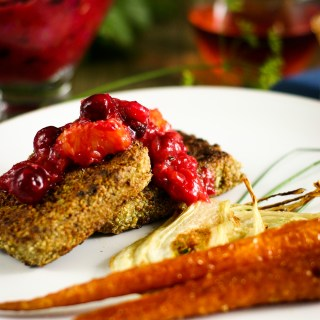 Pumpkin Seed Crusted Tofu with Cranberry-Rosé Relish