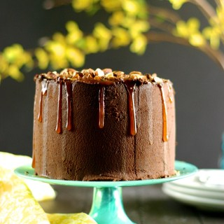 Vegan Salted Almond Chocolate Cake