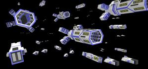 low-poly Spaceship carrier fleet