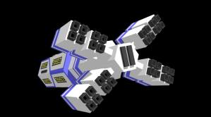 low-poly Spaceship from behind