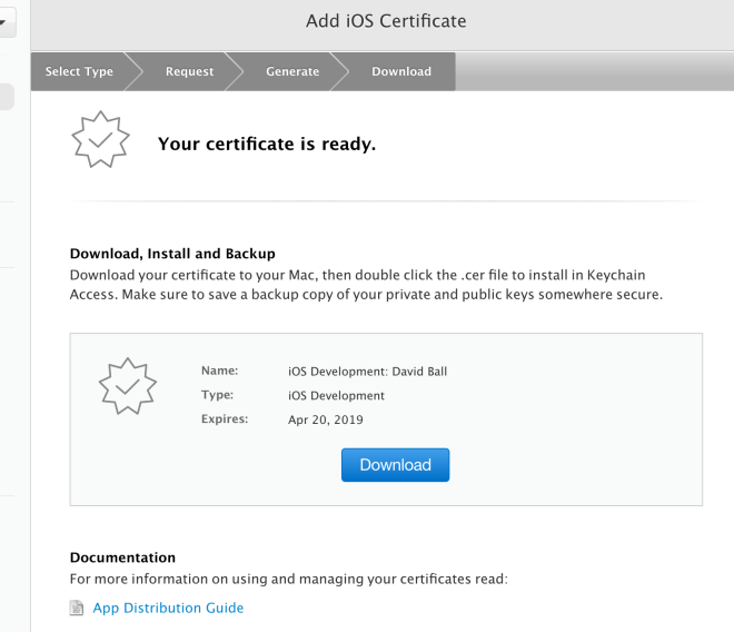 download certificate screenshot