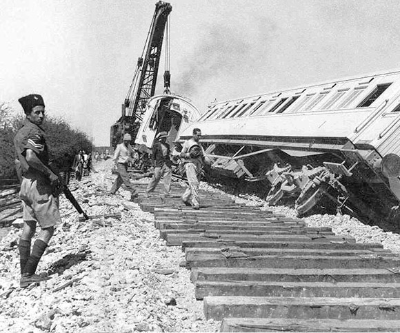 The Cairo to Haifa express train carrying British troops was sabotaged by Jewish terrorists, killing five soldiers and 3 civilians.