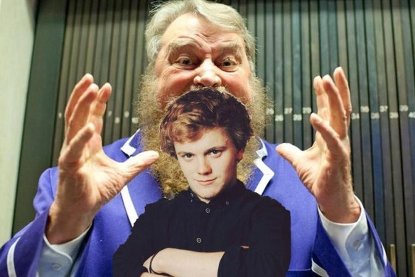 Photo of a giant Brian Blessed about to eat Greg Russell