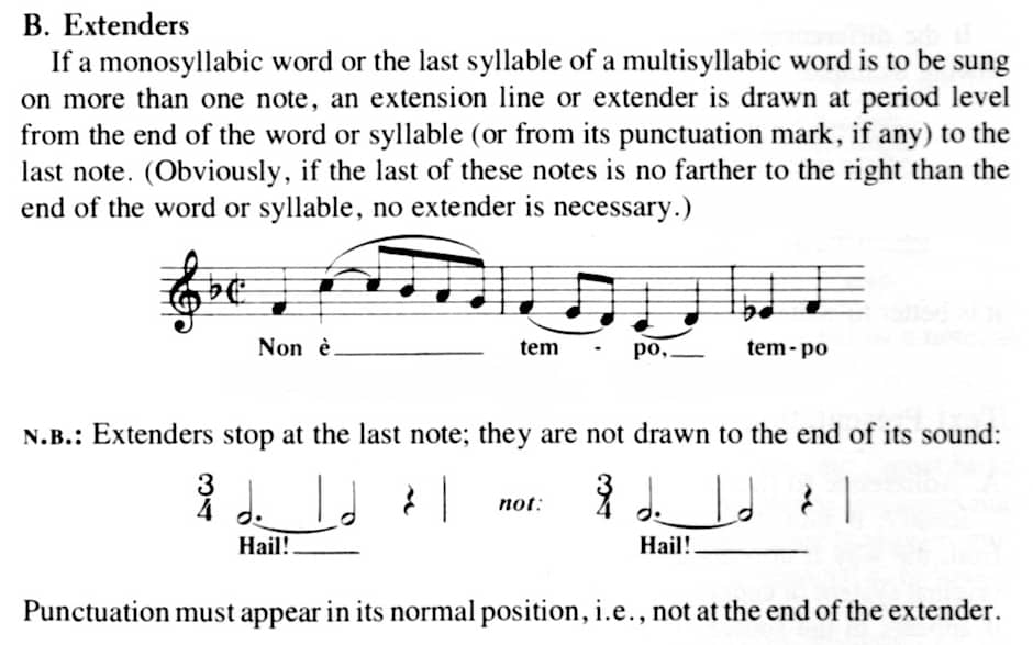 quote about word extenders from Kurt Stone, Music Notation in the 20th Century