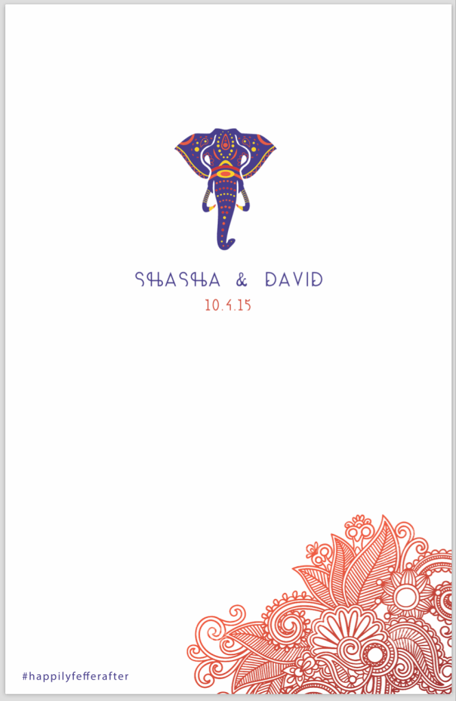 front cover of Indian Ceremony wedding program
