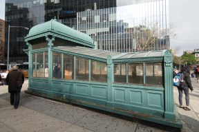 Re-creation of old-time subway kiosk entrance