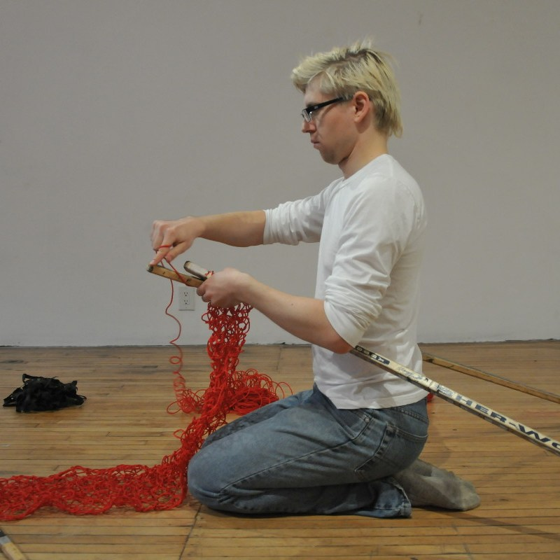 Hockey Sticks Knitting David Frankovich Performance Art