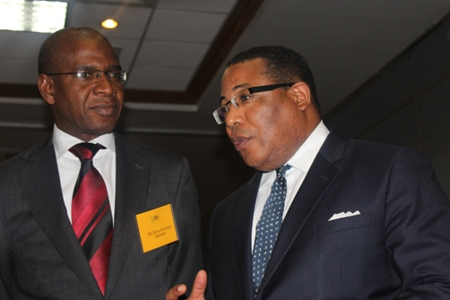 Bola Akindele and Minister G. Anthony Hylton, MP in discussion