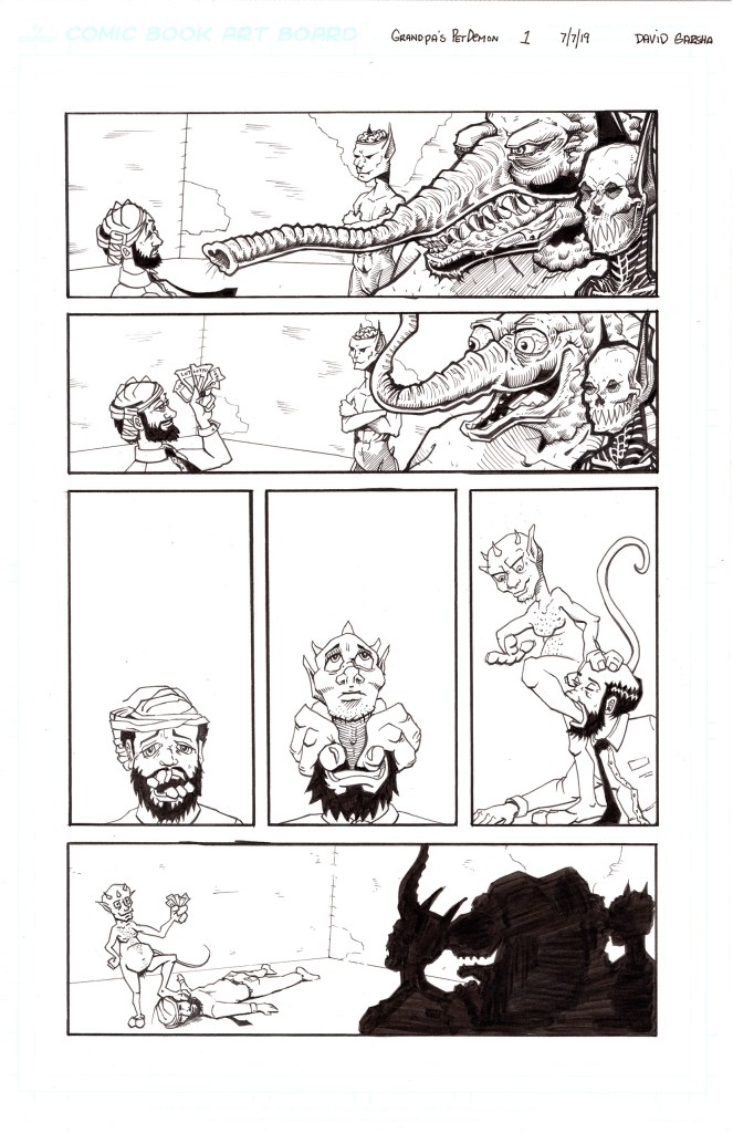 Grandpa's Pet Demon Page 7 Inks 150dpi