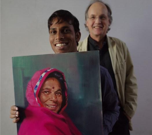 David and Nandu with Bhuri's portrait