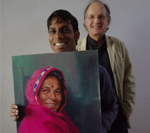 David and Nandu with Bhuri's portrait