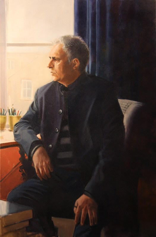"""Hanif Kureishi"" by David Goatley: Oil on canvas 36"" x 24"""