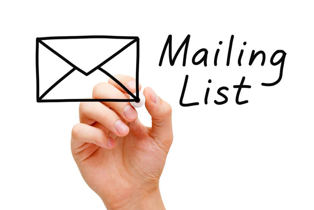 gestión de listas de email