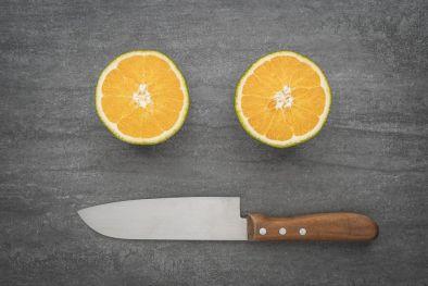 Cuchillo santoku con mango de madera