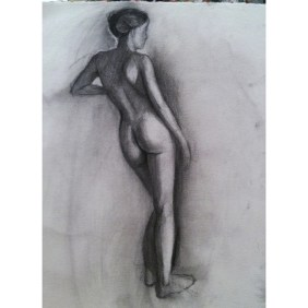 "Figure Drawing, 11""x14, graphite and charcoal on paper, $95"