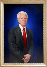 Commissioned Portrait of Franklin College president, 22″x30″, oil on panel, $3250 sold