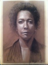 Portrait drawing 22″x15″ charcoal and pastel on paper, $125