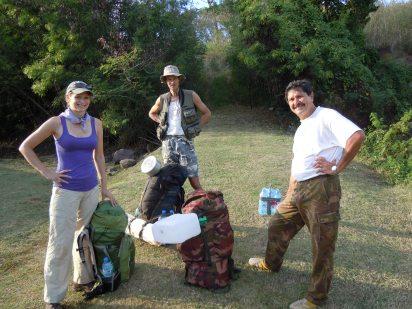 Erica Newman (UC Berkeley), Jean-Yves Meyer (Délégation à la Recherche), and Élie Poroi, fire ecology expedition to Mt. Fairurani, Mo'orea, Society Islands, 2011