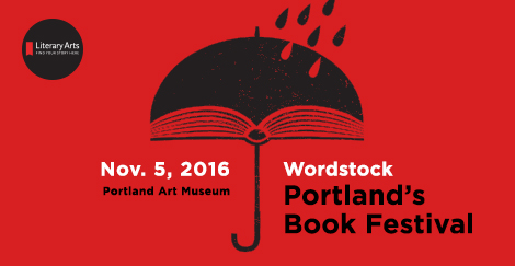 Wordstock: Portland's Book Festival, November 5, 2016, logo of umbrella on red background