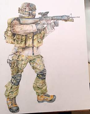 """""""Attack Ready"""" Colored Pencil on Paper 2012"""