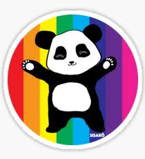 Rainbow Panda Hugs Sticker - redbubble.com