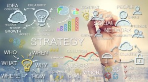 Hand drawing business strategy concepts