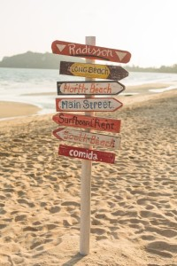 Signpost made of wood with the on the tropical beach.