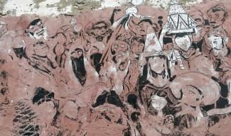 Morocco - Essaouira - street art probably to do with long gone tourist shop