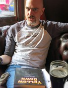 Yellow Dawn hardback special edition with Doc Toc in an English pub