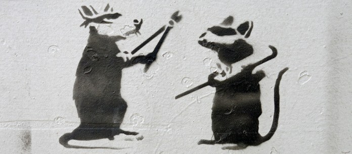 graffiti stencil work at NDSM Amsterdam - rats breaking into art - photo by David J Rodger